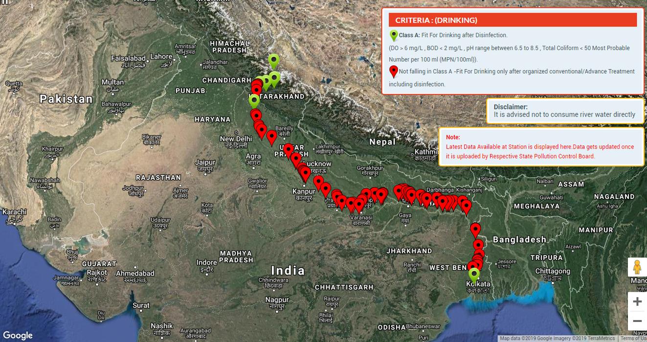 गंगा नदी – आठ राज्यों में पीने एवं स्नान योग्य नहीं रह गया है गंगा का जल (सीपीसीबी रिपोर्ट)-गंगा नदी