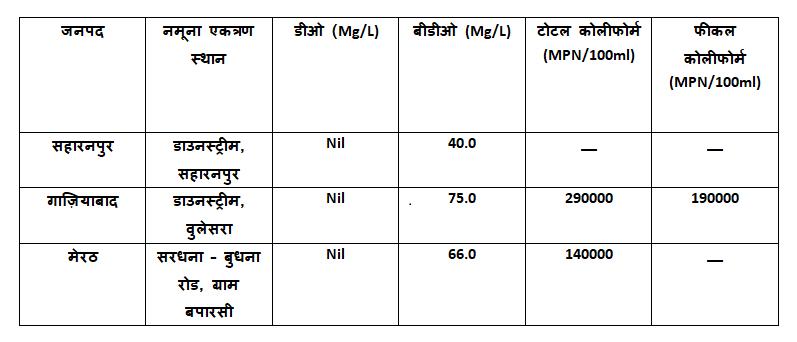 हिंडन नदी - यूपी प्रदूषण नियंत्रण बोर्ड रिपोर्ट मार्च 2019 : हिंडन नदी में डीओ का स्तर शून्य-हाल ही
