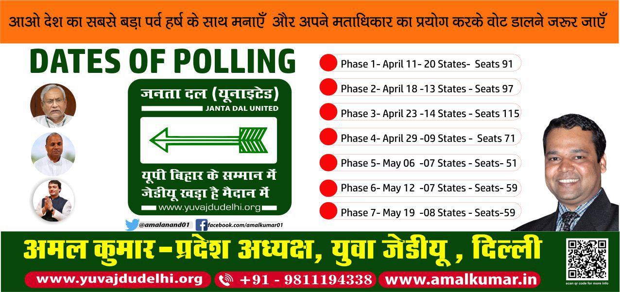 अमल कुमार - बिहार लोकसभा चुनाव 2019 की अहम तिथियों का संक्षिप्त ब्यौरा-आगामी 11 अप्रैल से बिहार में